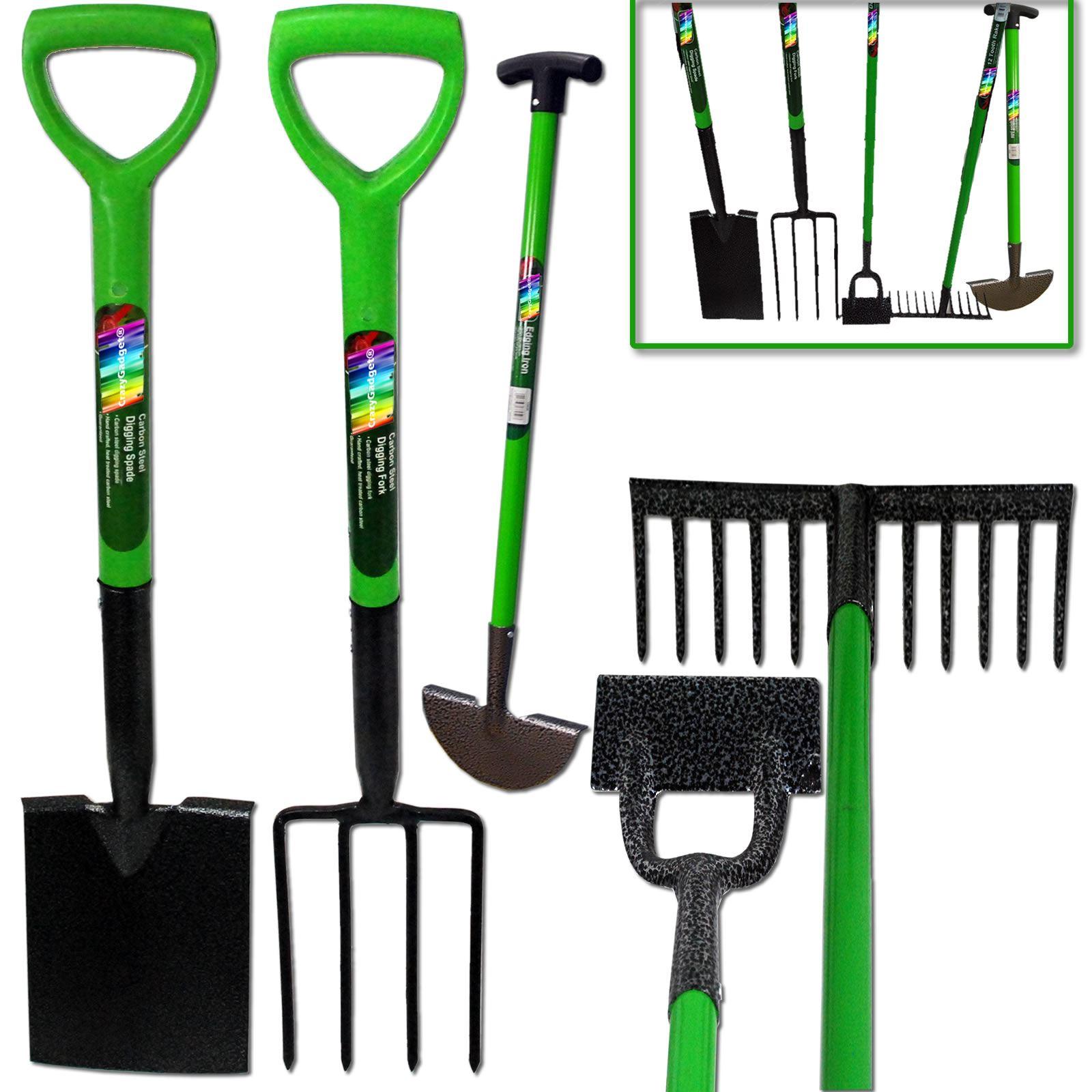 Kingfisher 5pcs gardening tool set rake fork hoe spade for Gardening tools kit set
