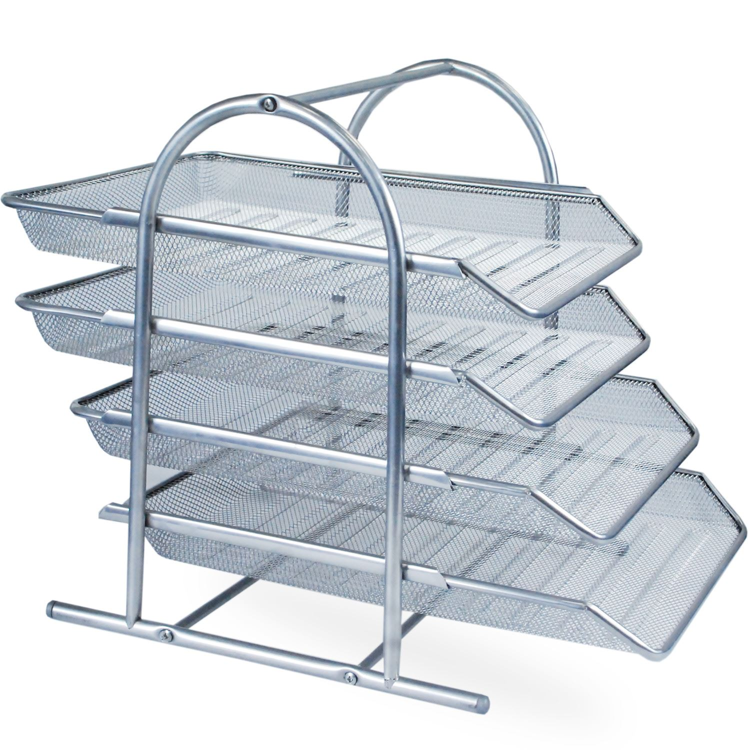 3 4 Tier Office Filing Trays Holder A4 Paper Wire Mesh Storage ...