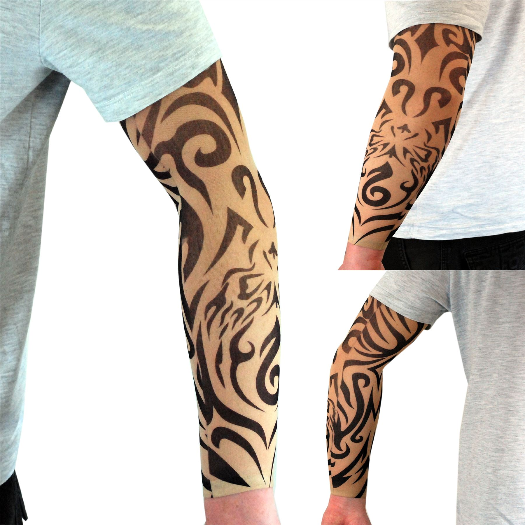 nylon stretch fake tattoo sleeves arms fancy dress party uk 11 vibrant designs ebay. Black Bedroom Furniture Sets. Home Design Ideas