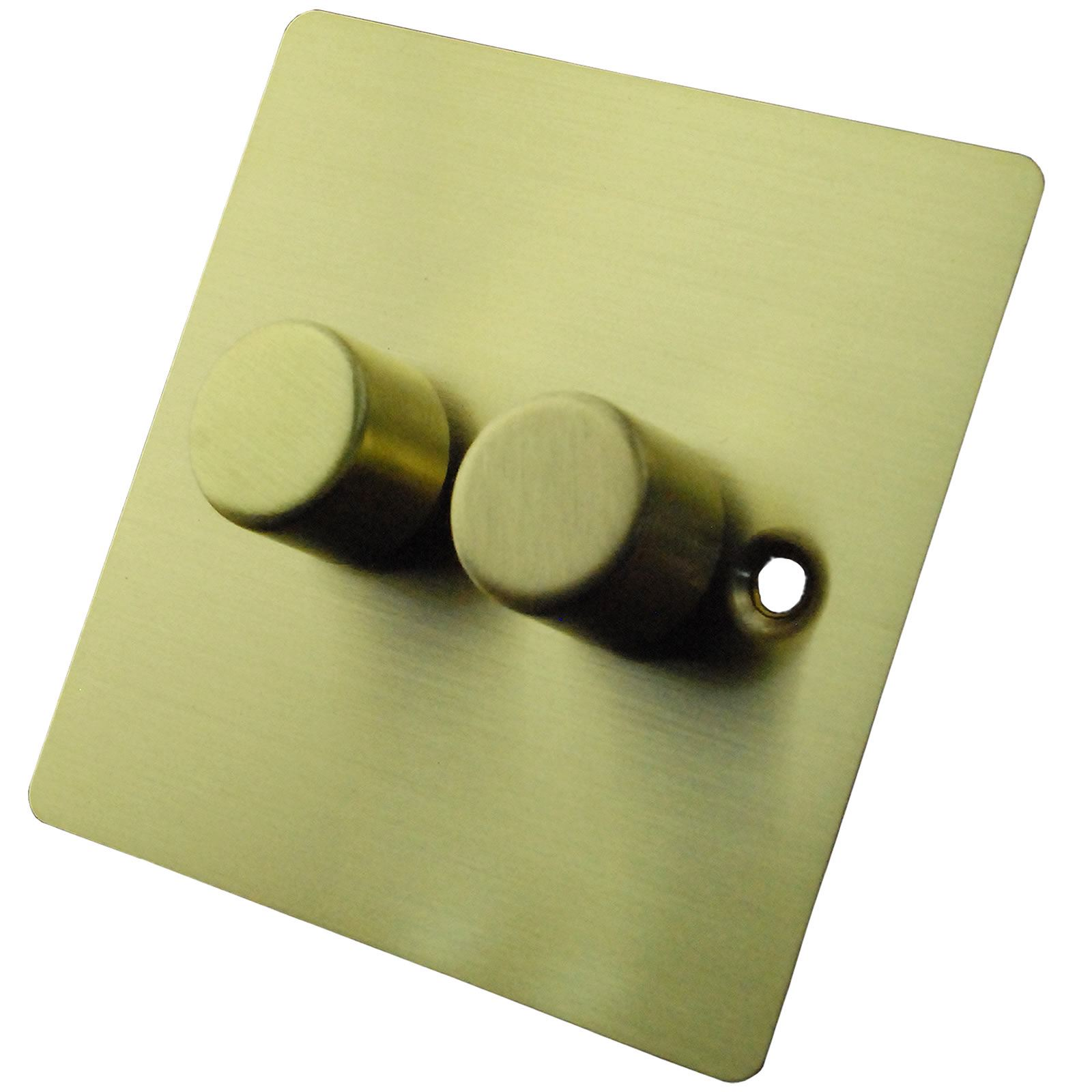 Ultra Flat Brushed Brass 2 Gang Home Dimmer Light Switch 1 Or Way Push On Off