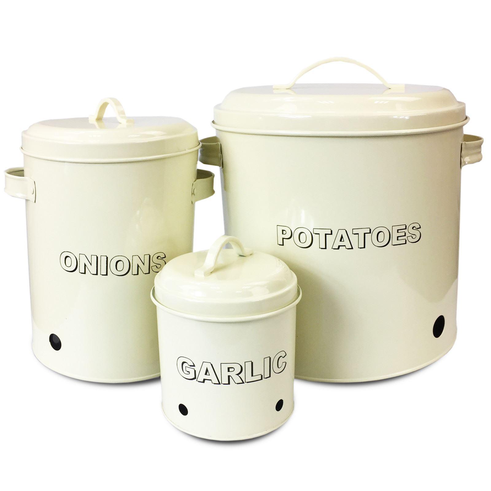 Cream 3PC Potatoe Garlic Onion KITCHEN STORAGE CANISTERS JAR TIN SET ...