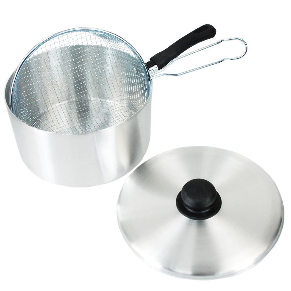 LARGE Aluminium Chip Pan Sets with Deep Fat Frying Basket and LidSet