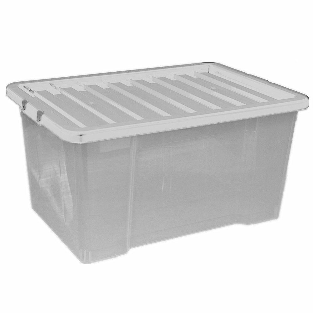 Large Plastic Storage Clear Box With Clear Lid Container Made In