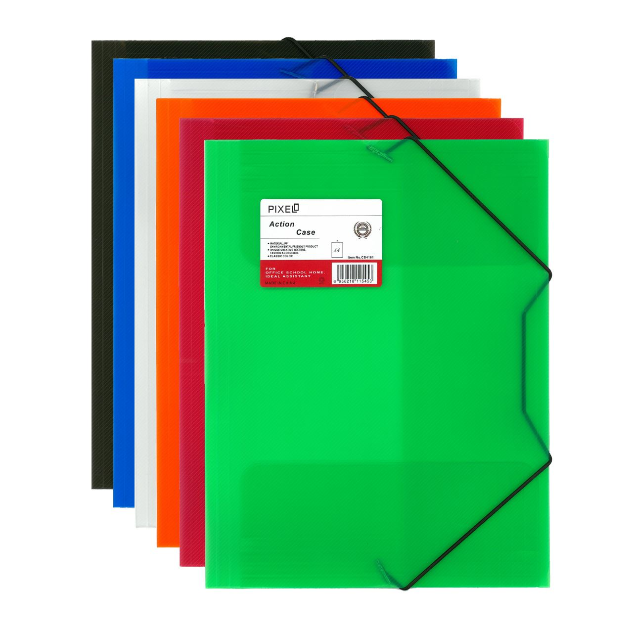 Pixel® A4 Elastic Folio File Case Folder Wallet Assorted Colours Pack of 6
