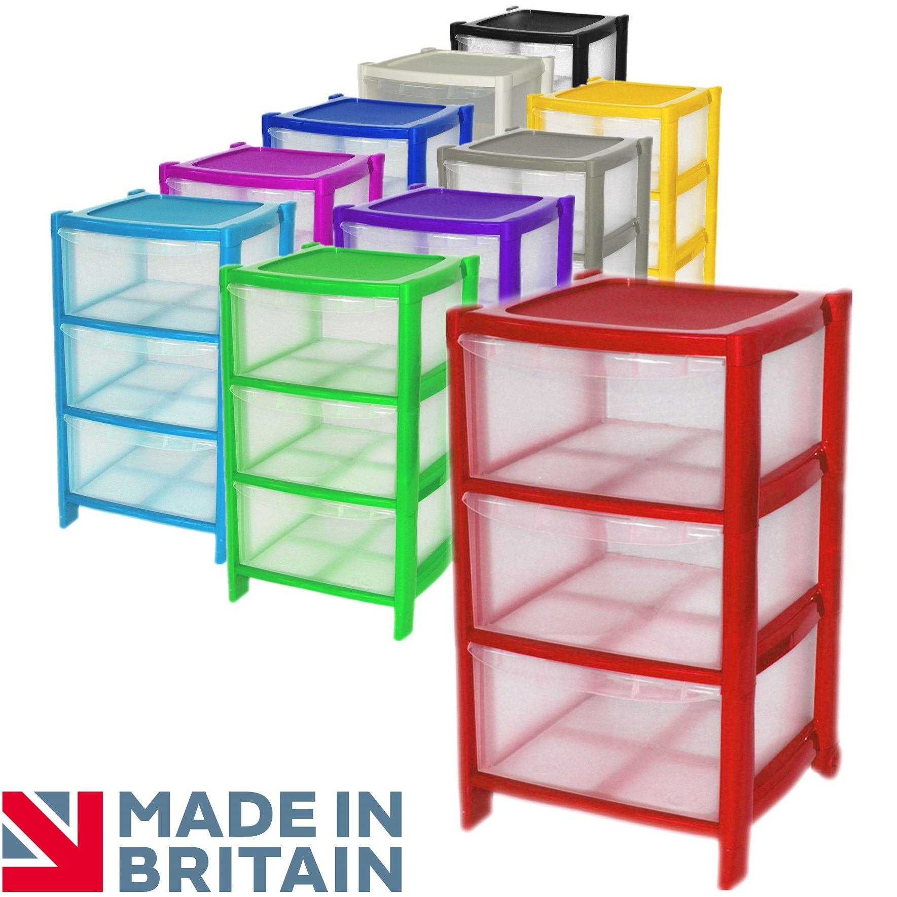 Simpa® 3 Drawer Plastic Storage Drawers Chest Unit with Wheels 38.5 x 39 x 66cm  sc 1 st  eBay & Simpa® 3 Drawer Plastic Storage Drawers Chest Unit with Wheels 38.5 ...
