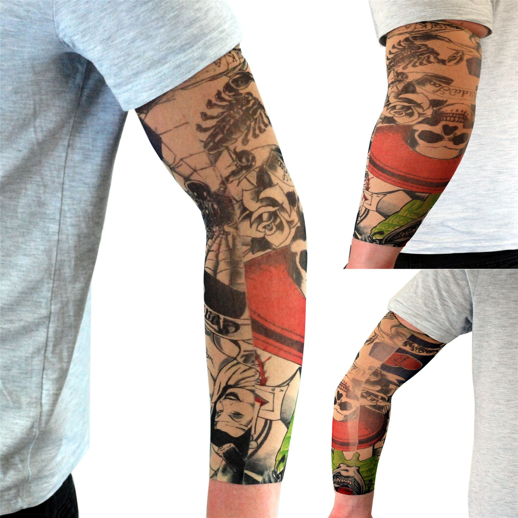 nylon stretch fake tattoo sleeves arms fancy dress party