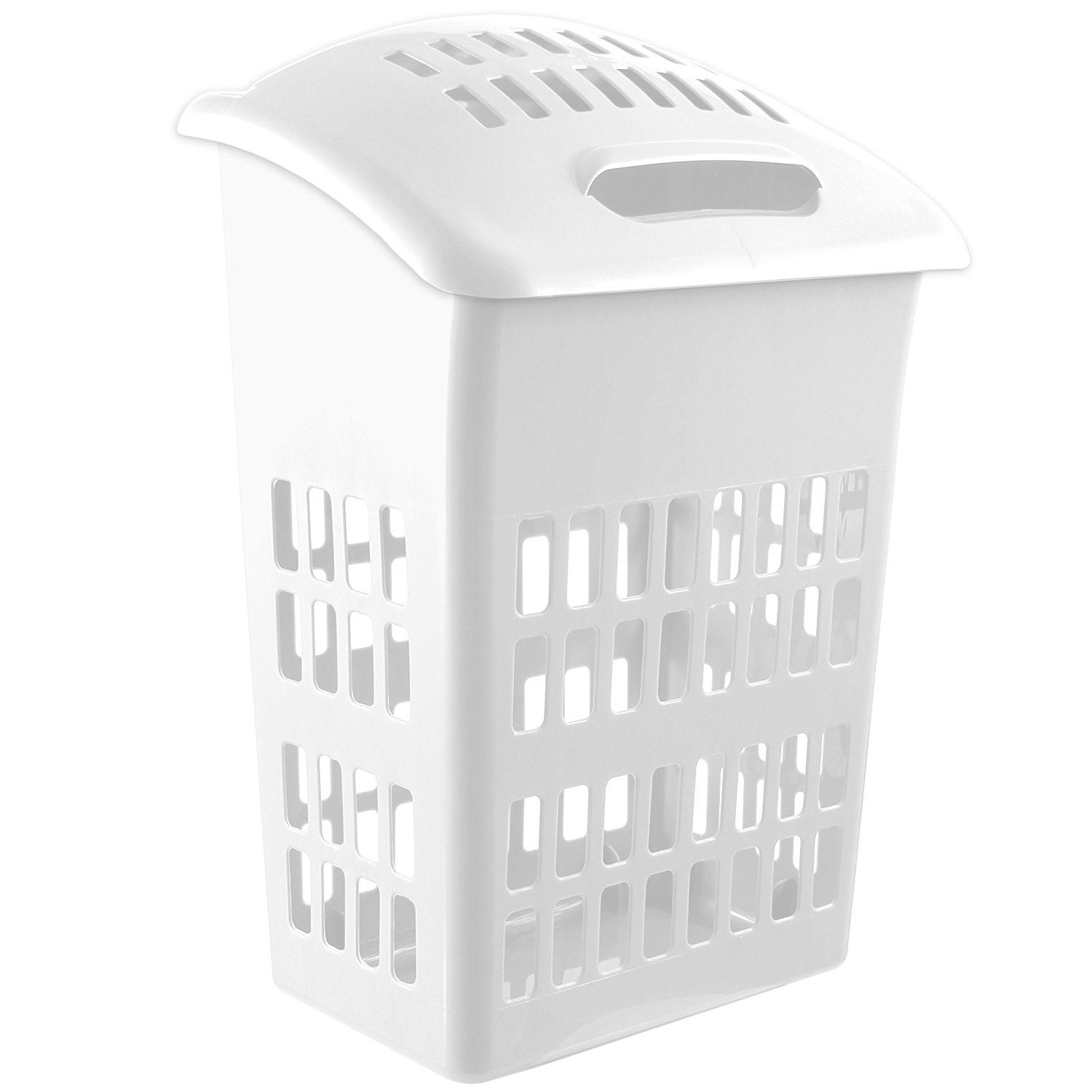 large 60l laundry hamper basket cloth washing storage bin with lid white. Black Bedroom Furniture Sets. Home Design Ideas