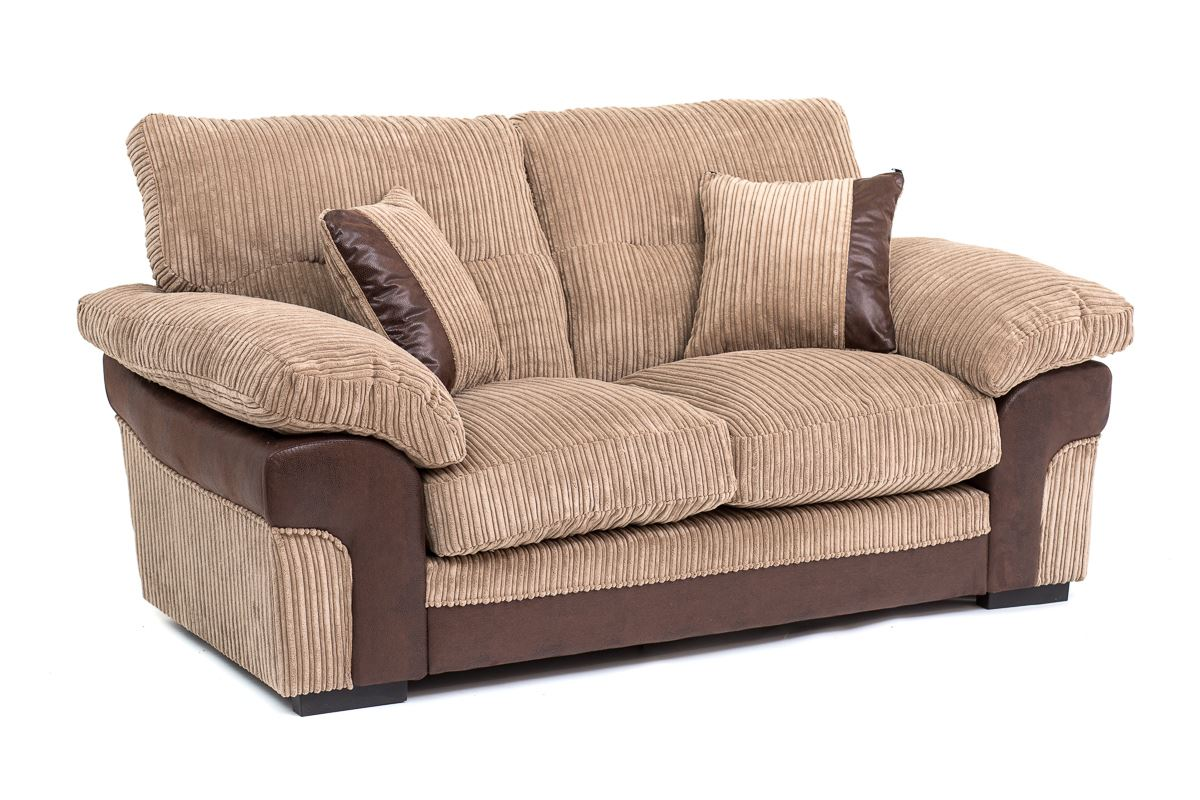 samson corner 2 3 seater cord chenille fabric sofa armchair in brown or grey ebay. Black Bedroom Furniture Sets. Home Design Ideas