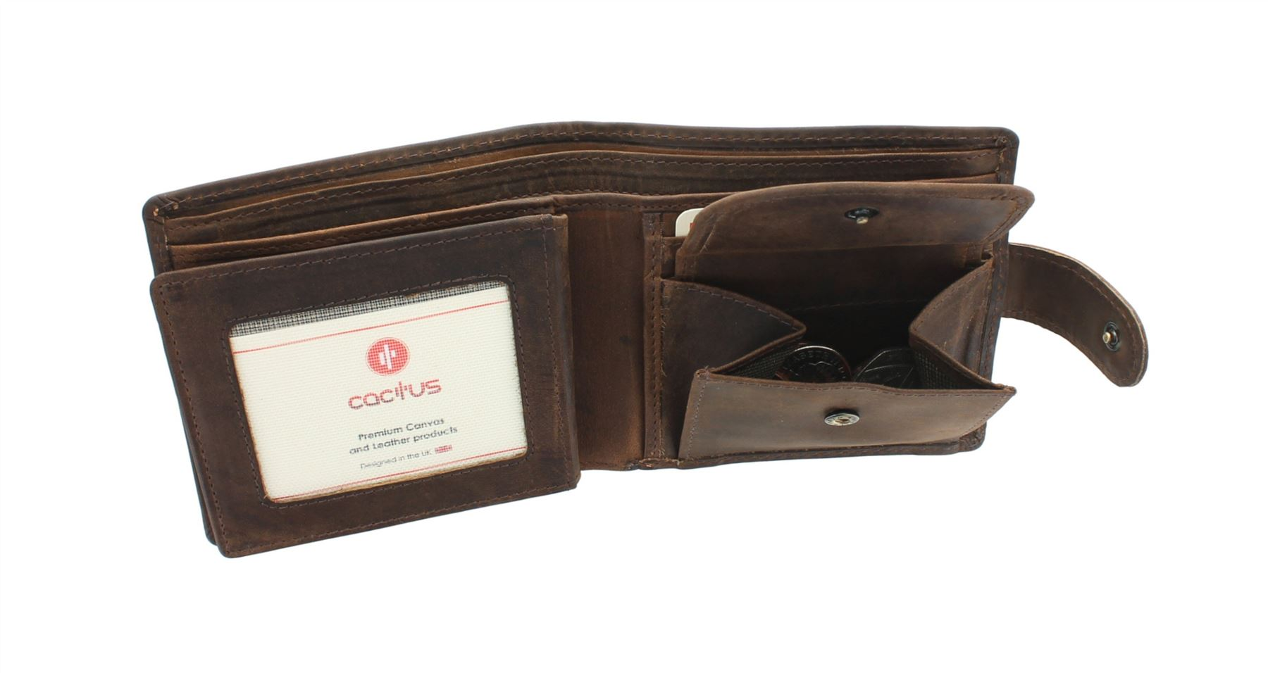CACTUS Bi-Fold Oiled Leather Wallet With RFID Protection 185/_81