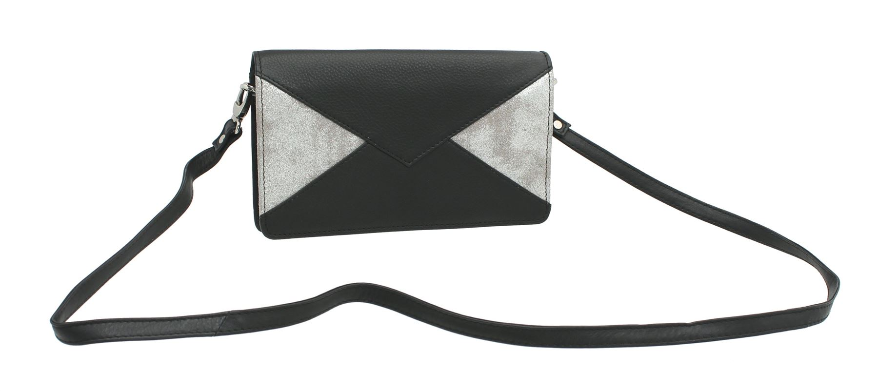 negro 21 bandolera Bolso cuero de Collection 7139 Mala clutch gris Lexi zAxAR85