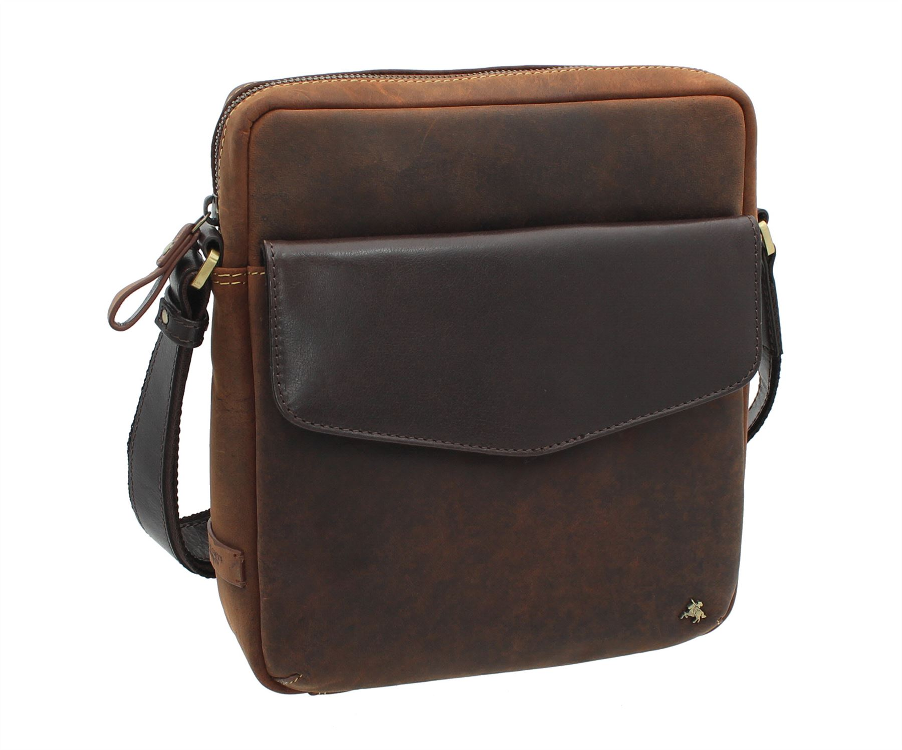 Visconti Toscana Collection Distressed Oiled Leather Shoulder Bag Vesper A5 TC70