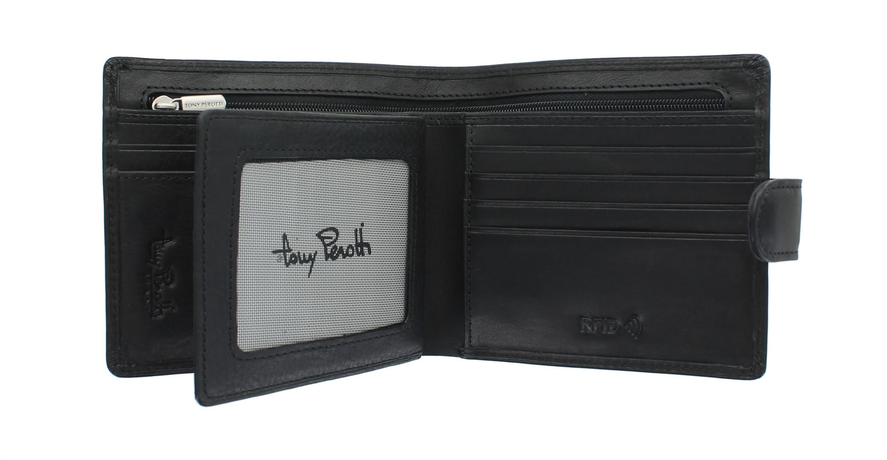 Tony Perotti Full Full Full Grain Leather Bi-Fold Wallet With RFID Protection 1001_1 | New Products