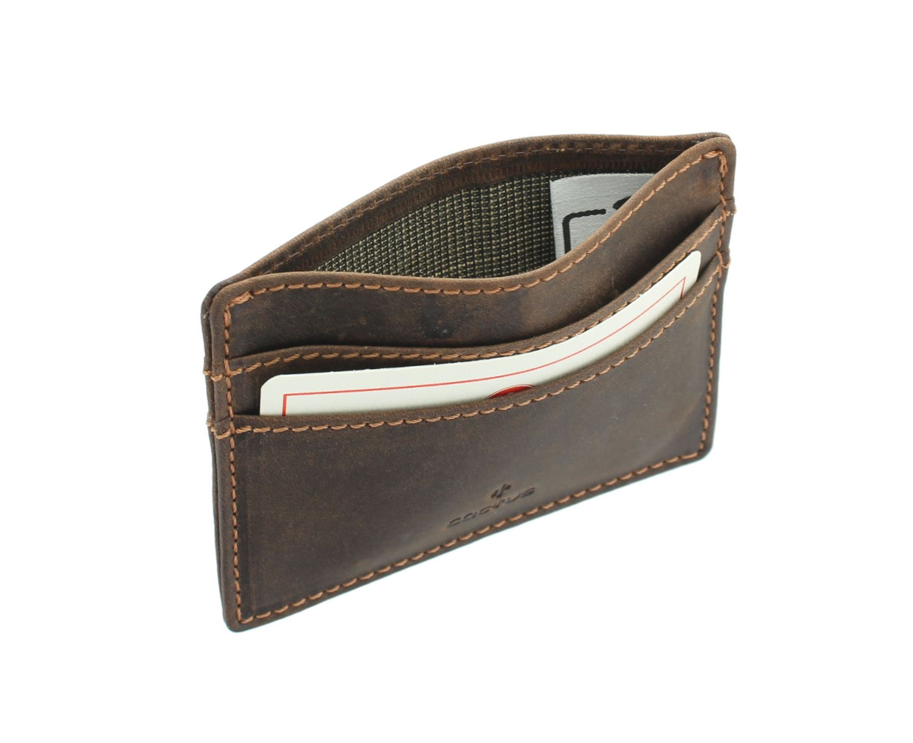 CACTUS Slim Oiled Leather Credit Card Holder With RFID Protection 626/_81