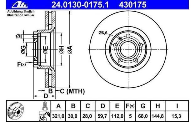 2x ATE Bremsscheiben vorne belüftet 321mm für AUDI A8 A6 24.0130-0175.1