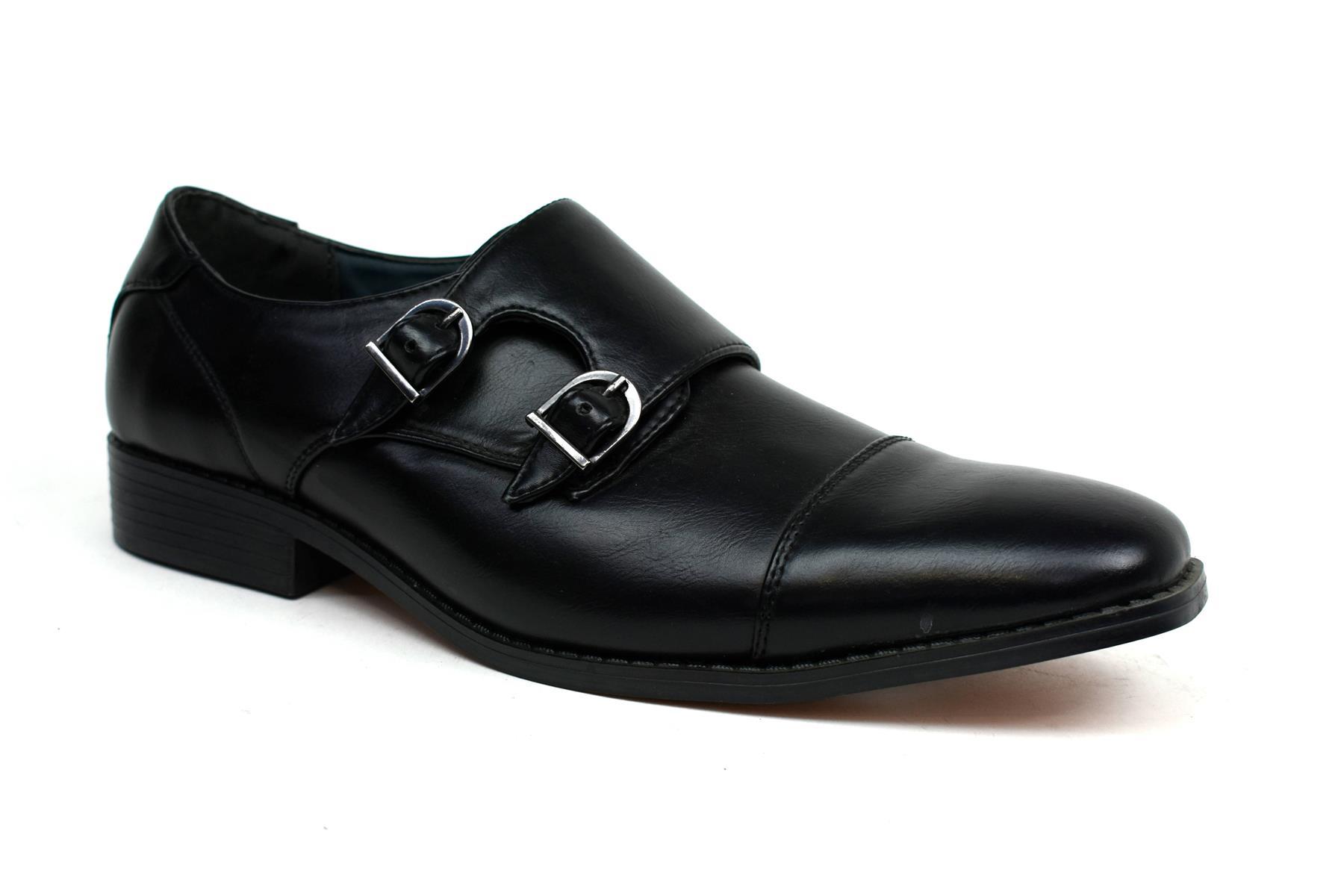 New Black Smart Leather Monk Double Buckle Low Heel Formal Men Shoe UK Size