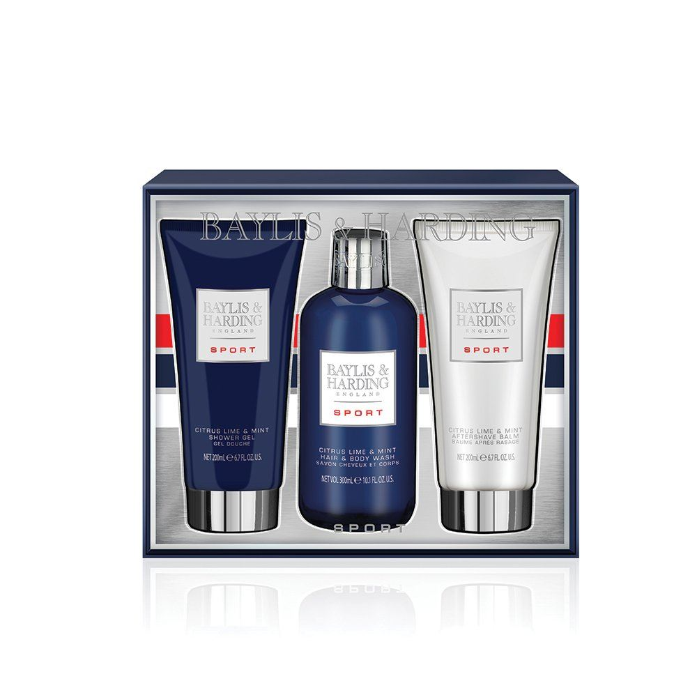 b9080aa34e Stylish silver gift box with Navy and red accents reveals the perfect  grooming trio 300ml hair   body Wash and 200ml shower gel to gently cleanse  and keep ...
