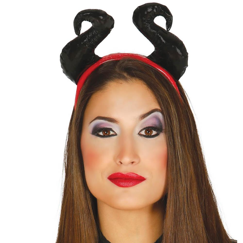 Black Devil Evil Queen Tiara Horns on Headband Halloween Fancy Dress Party Item