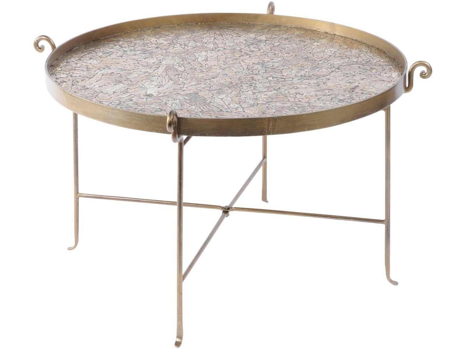 Libra Metallique Mosaique En Metal Table Basse Ronde Fer Bronze Ebay