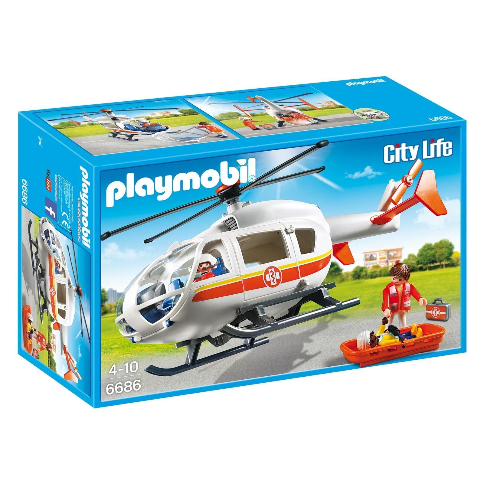 Dettagli su Playmobil City Life 6686 Emergenza Rescue Medico Elicottero Set  Personaggi