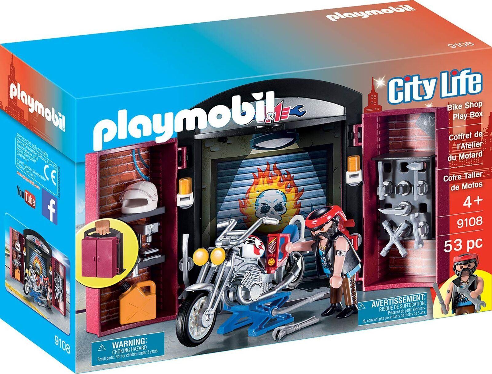 Dettagli su PLAYMOBIL 9108 City Life MOTO HOT ROD SHOP Garage Playset-  mostra il titolo originale