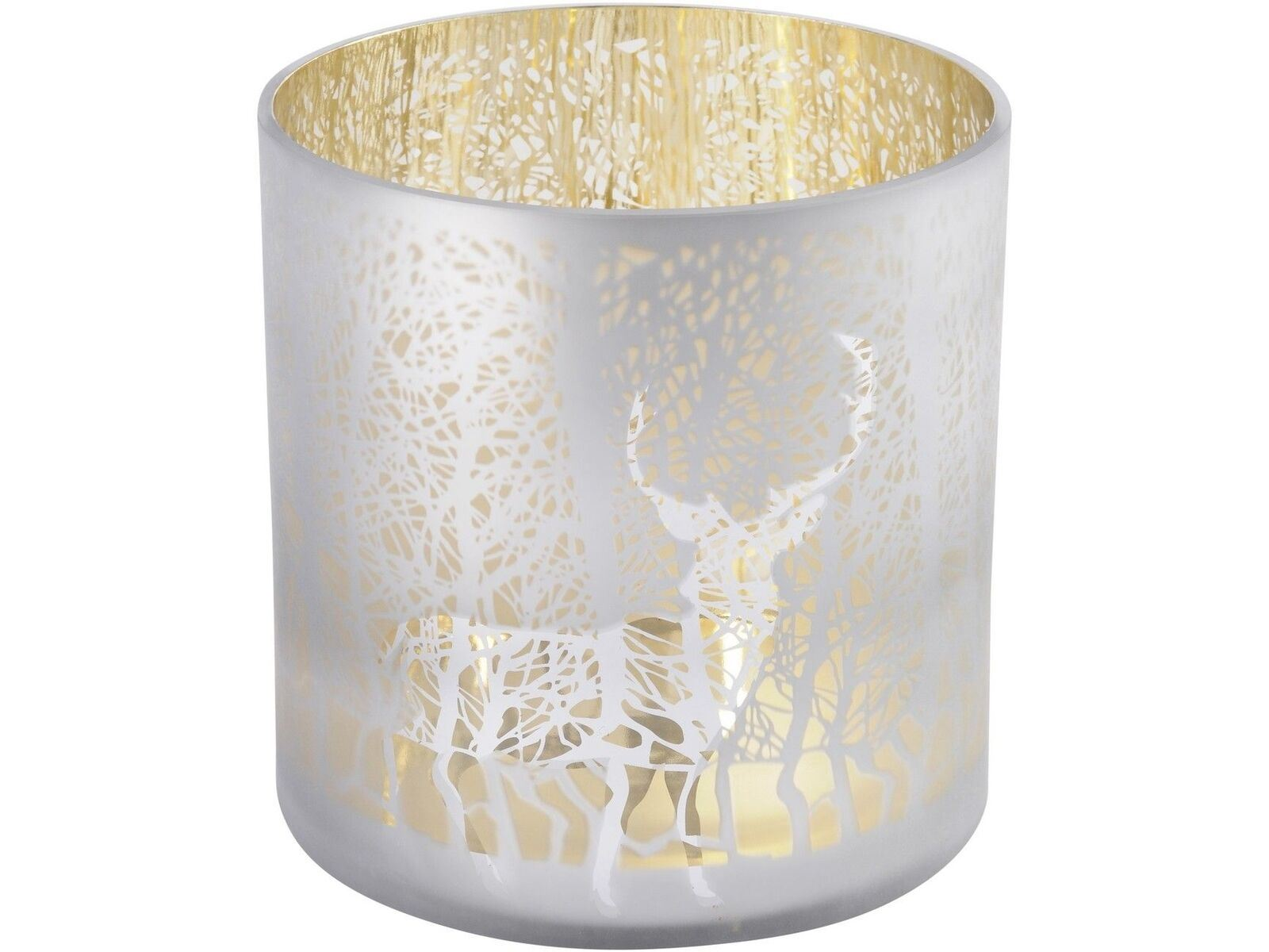 Libra Reindeer And Tree Frosted Gold Hurricane Candle Holder Christmas Deer 5013622189904 Ebay