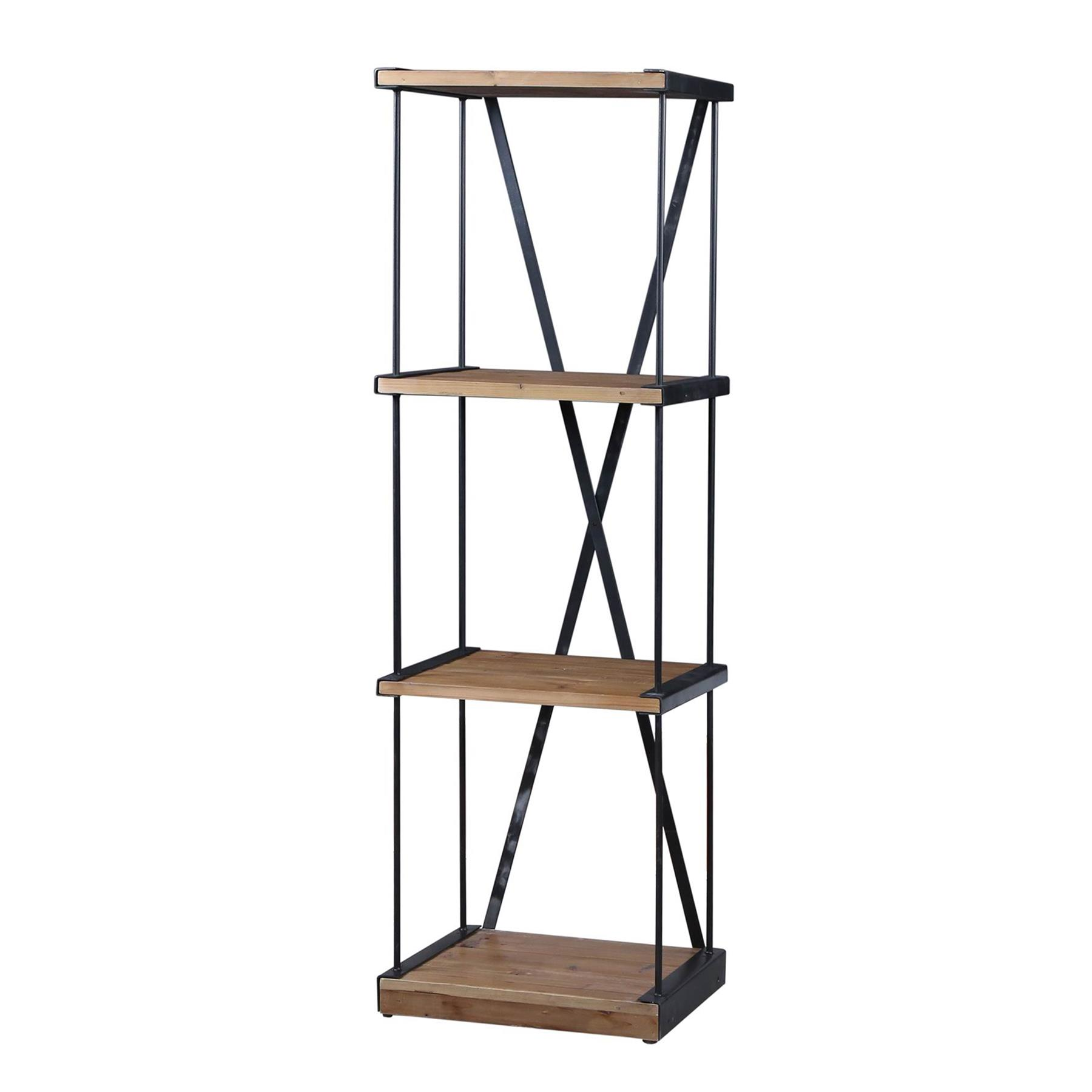 Details About Libra Book Shelf Refinery Small Iron And Elm Wooden Bookcase 160cm
