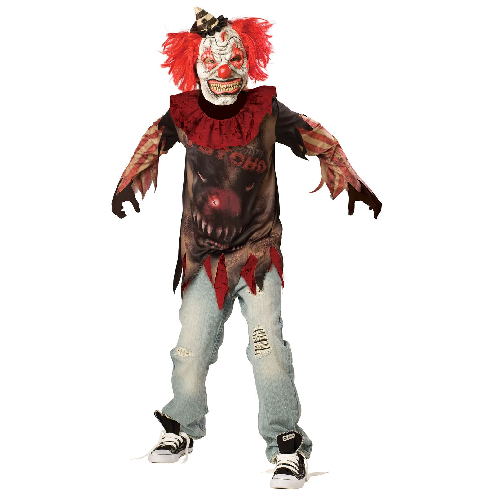 Scary Clown Halloween Costume.Details About Sideshow Evil Clown Halloween Costume Boys Horror Scary Fancy Dress 12 14 Years