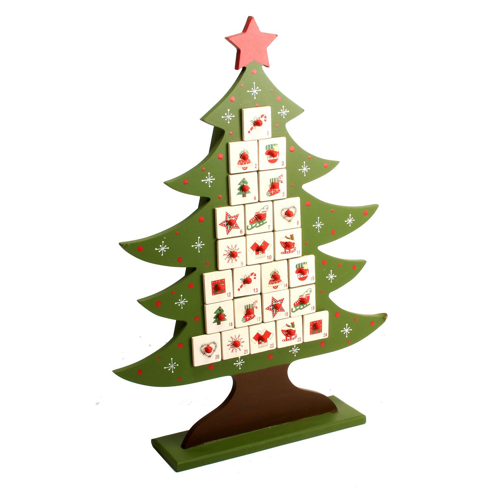 Whimsical Winter Wooden Tree Advent Calendar Christmas Decoration Kids Treats Ebay