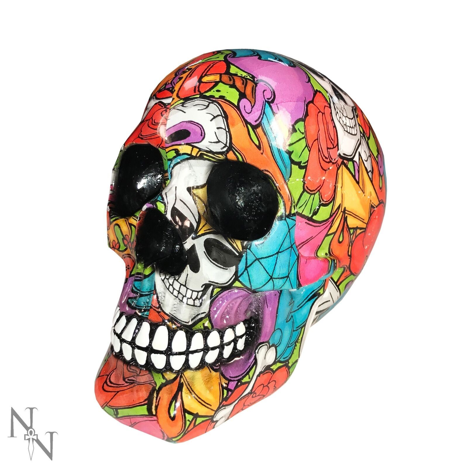 Nemesis Skull Ornament Viva Día de Muertos Small Black 8cm