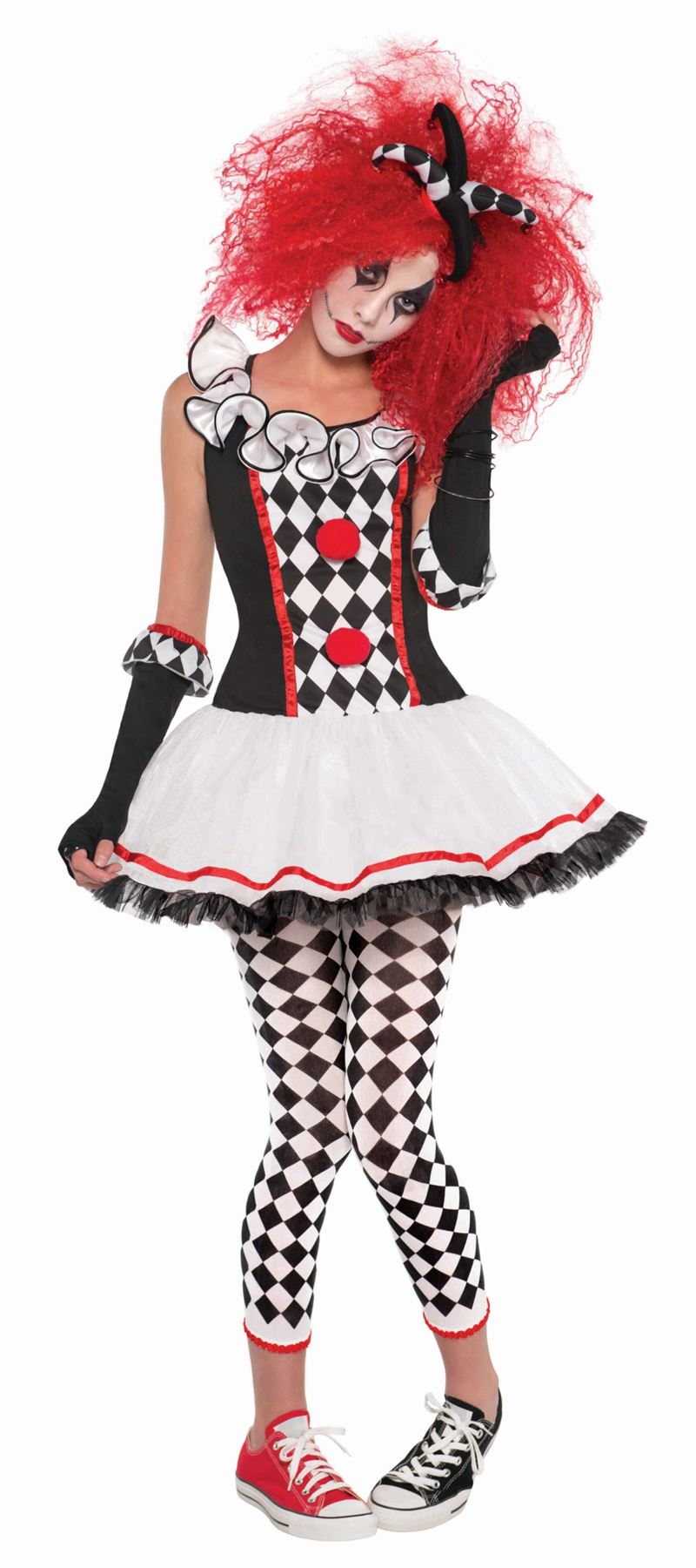 Harlequin Collant più taglie bianco nero per adulti donna Halloween Fancy Dress