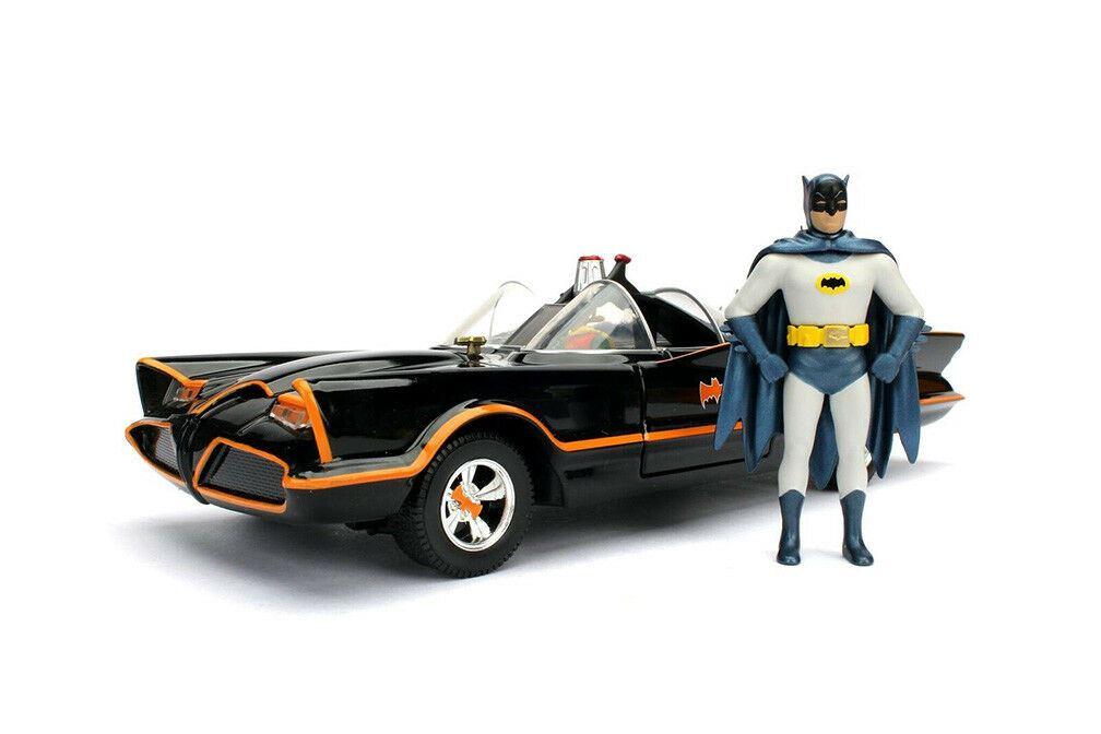 BATMAN BATMOBILE 1966 WITH FIGURE BATMAN ROBIN 1:24 Jada Toys Movie Die Cast