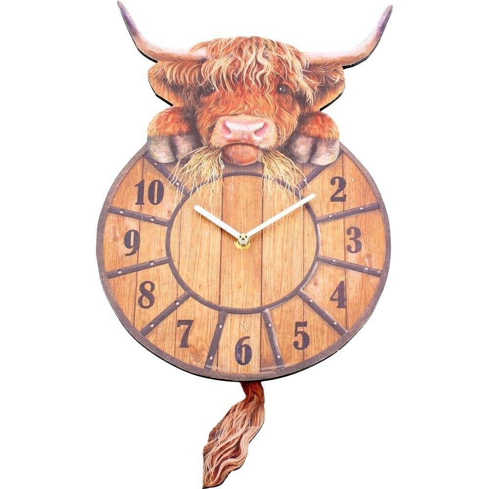Nemesis Now Highland Tickin Cow Pendulum Tail Animal Wall Clock 801269122300 Ebay