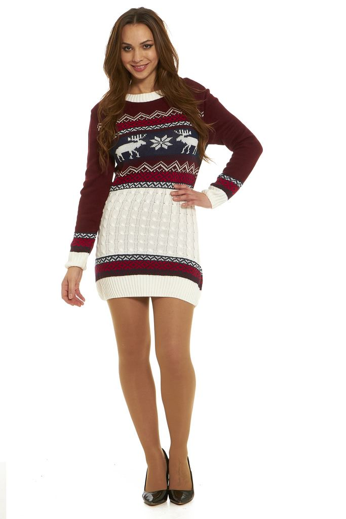 Ladies-Christmas-Tunic-Jumper-Womens-New-2017-Novelty-Xmas-Knitted-Retro-Sweater