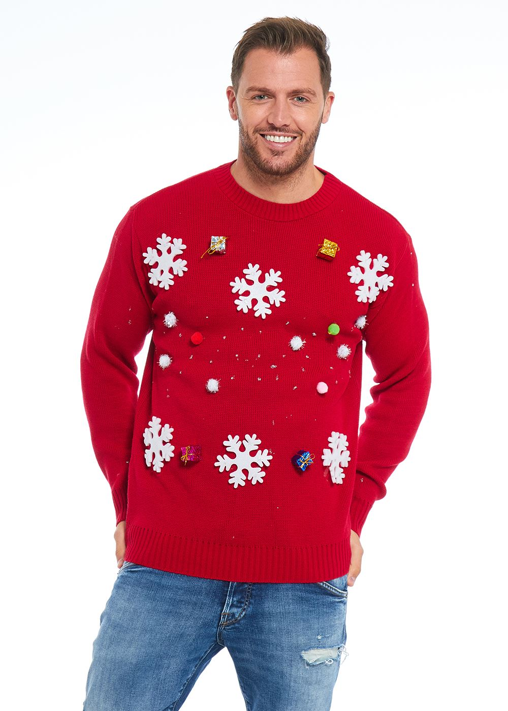 Mens Xmas Jumpers Christmas Sweater Pullover Novelty ...