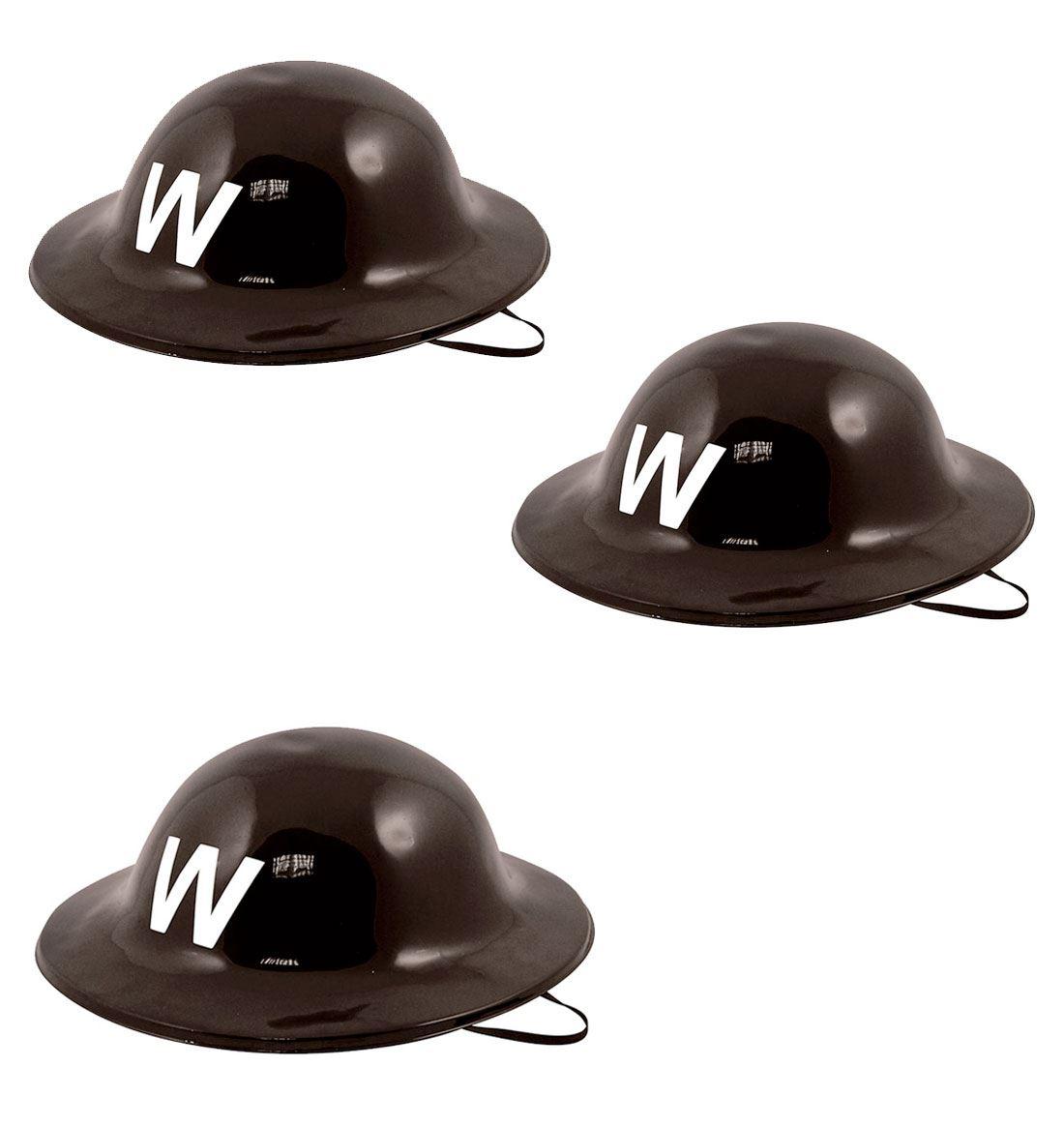 WW2 Plastic Helmet Hats Air Raid Warden Hat Fancy Dress Party Accessory Lot