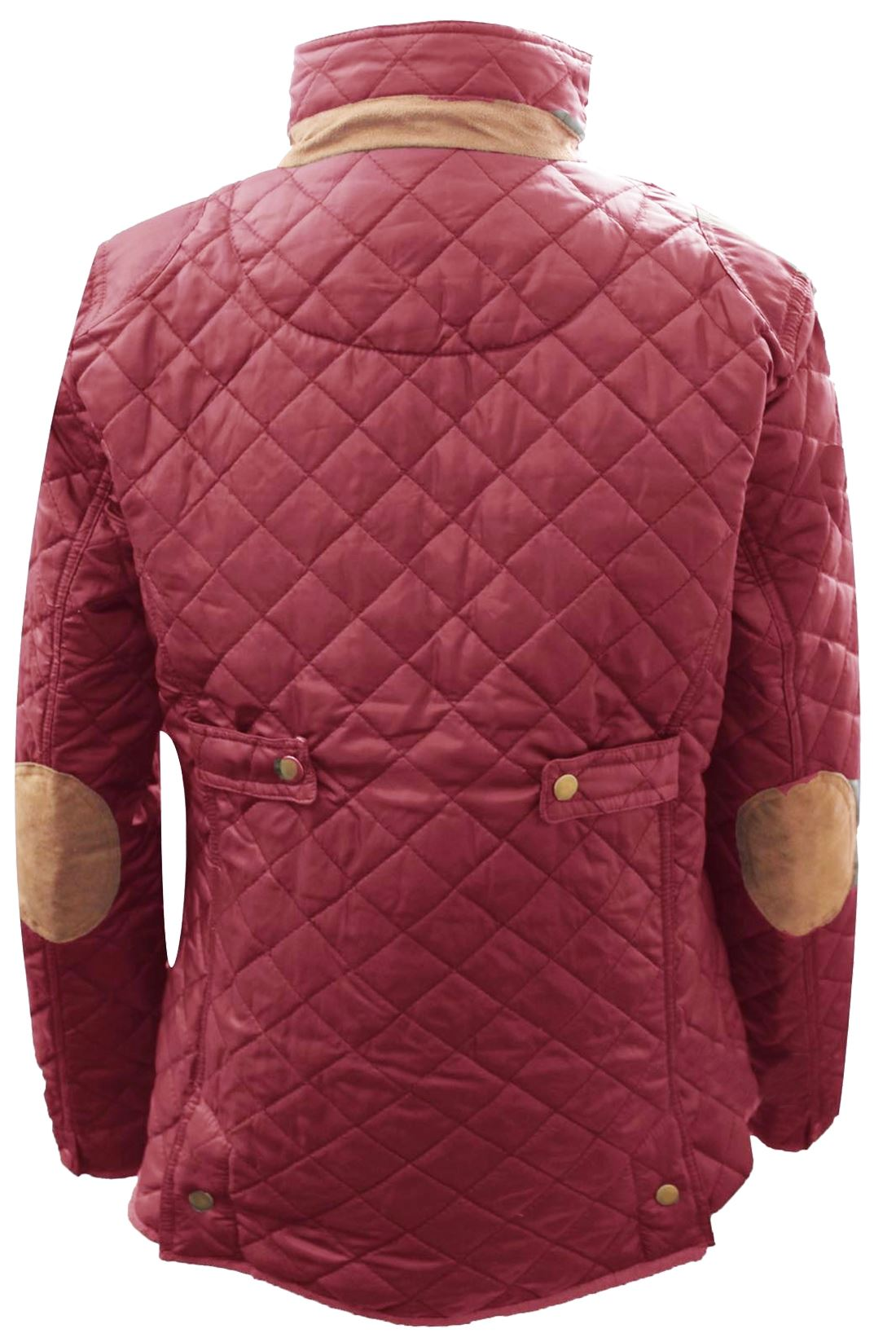 Womens Ladies Quilted Button Thick Warm Winter Elbow Patches Funnel Neck Jacket