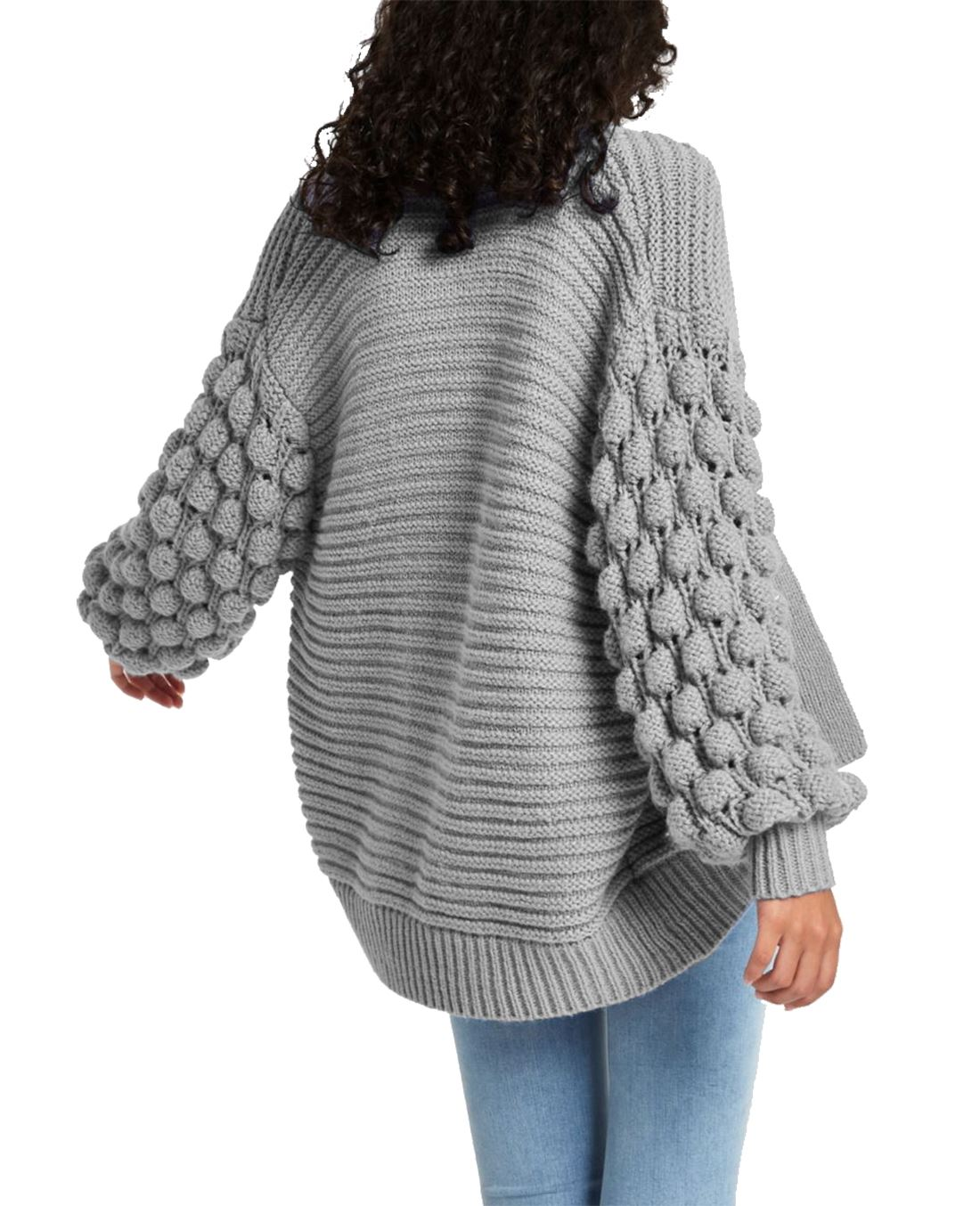 7b45ef9d4e Womens Open Front Bobble Sleeve Knitted Cardigan Ladies Oversized ...