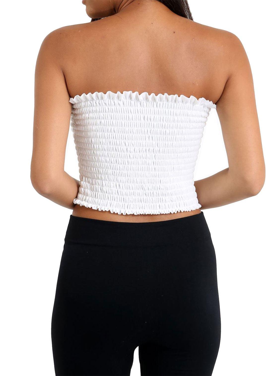Womens Straplesss Bandeau Sheering Crop Top Ladies Gather Boobtube Shirred Top
