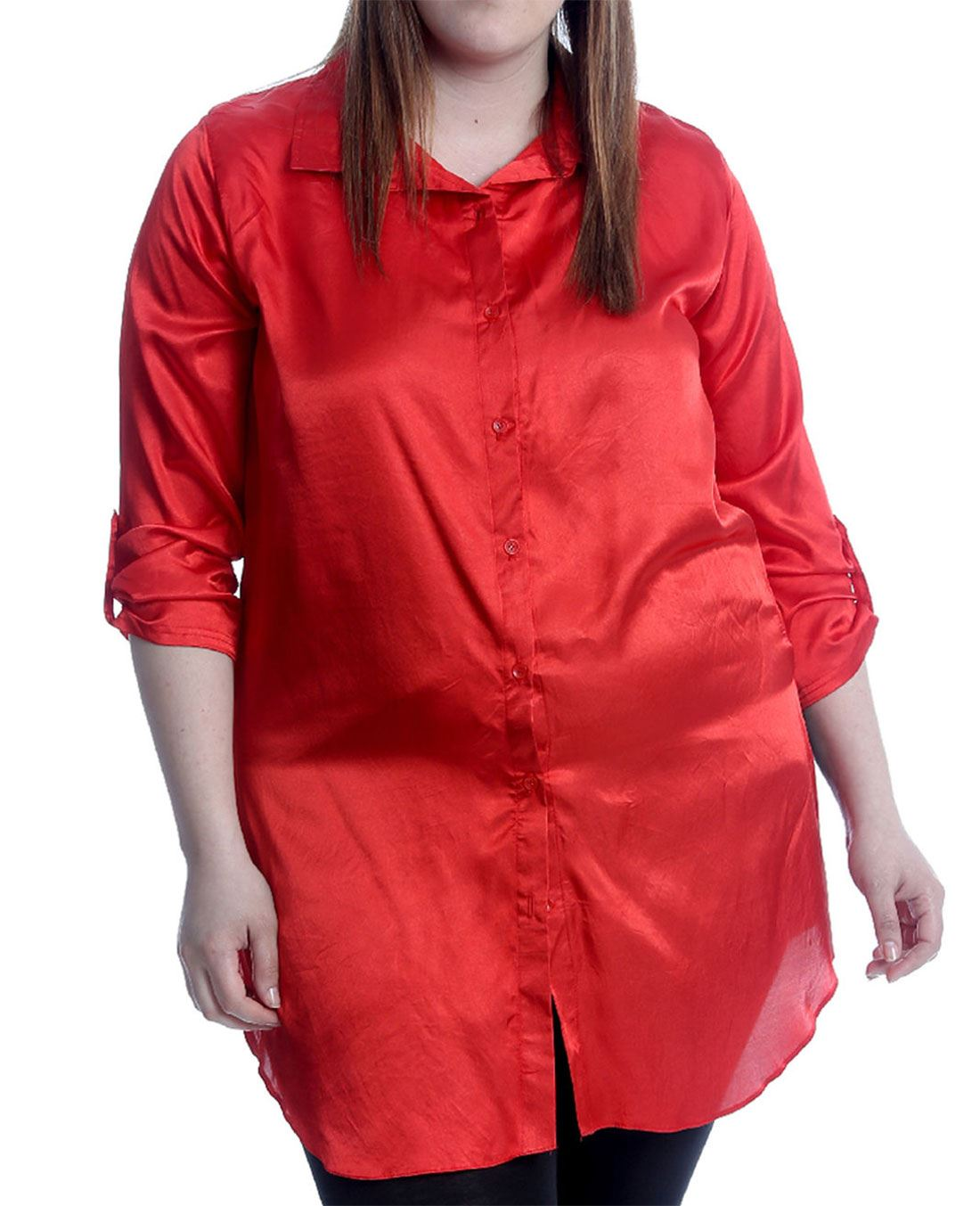 Womens-Plain-Satin-Shiny-Button-Collared-Shirt-Ladies-Long-Sleeve-Plus-Size-Top