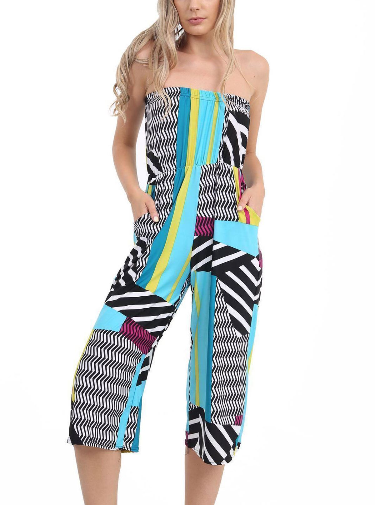Womens Off Shoulder Boobtube Printed Jumpsuit Ladies Fancy Party ...