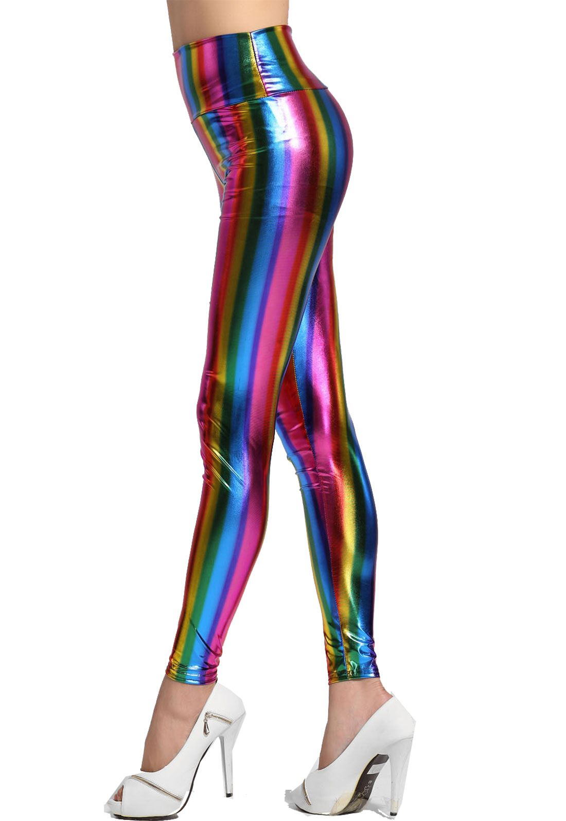 28916953399083 Ladies Wet Look High Waist Shine Rainbow Multi Coloured Stripe ...