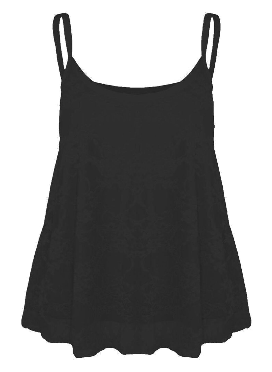 5928f7eb56a6a ... Camisole Vest Ladies Sleeveless Strappy Cami Flared Swing Top Black XL  UK 16-18 US 12-14 EU 44-46. About this product. Picture 1 of 2  Picture 2  of 2