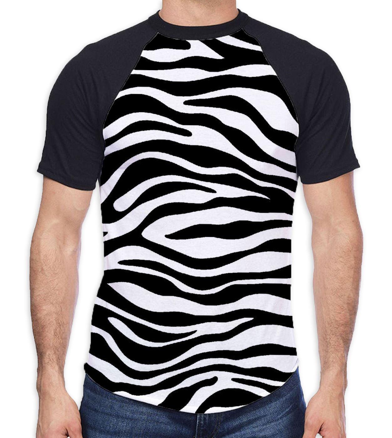 893f510c1081 Zebra Skin Print Men s All Over Baseball T Shirt - Animal Festival Party  Summer