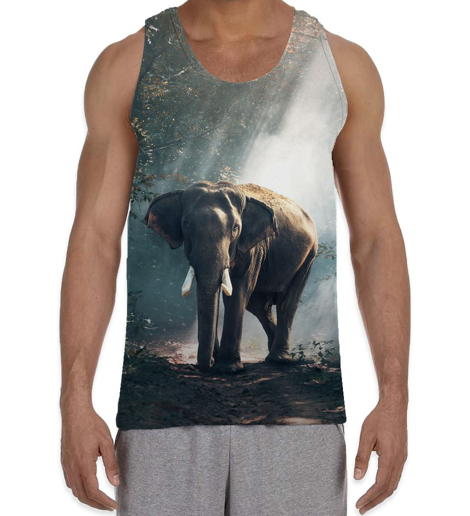 db3bc7f30 Elephant in Forest Men s All Over Vest Tank Top - Animals Cute Wild ...