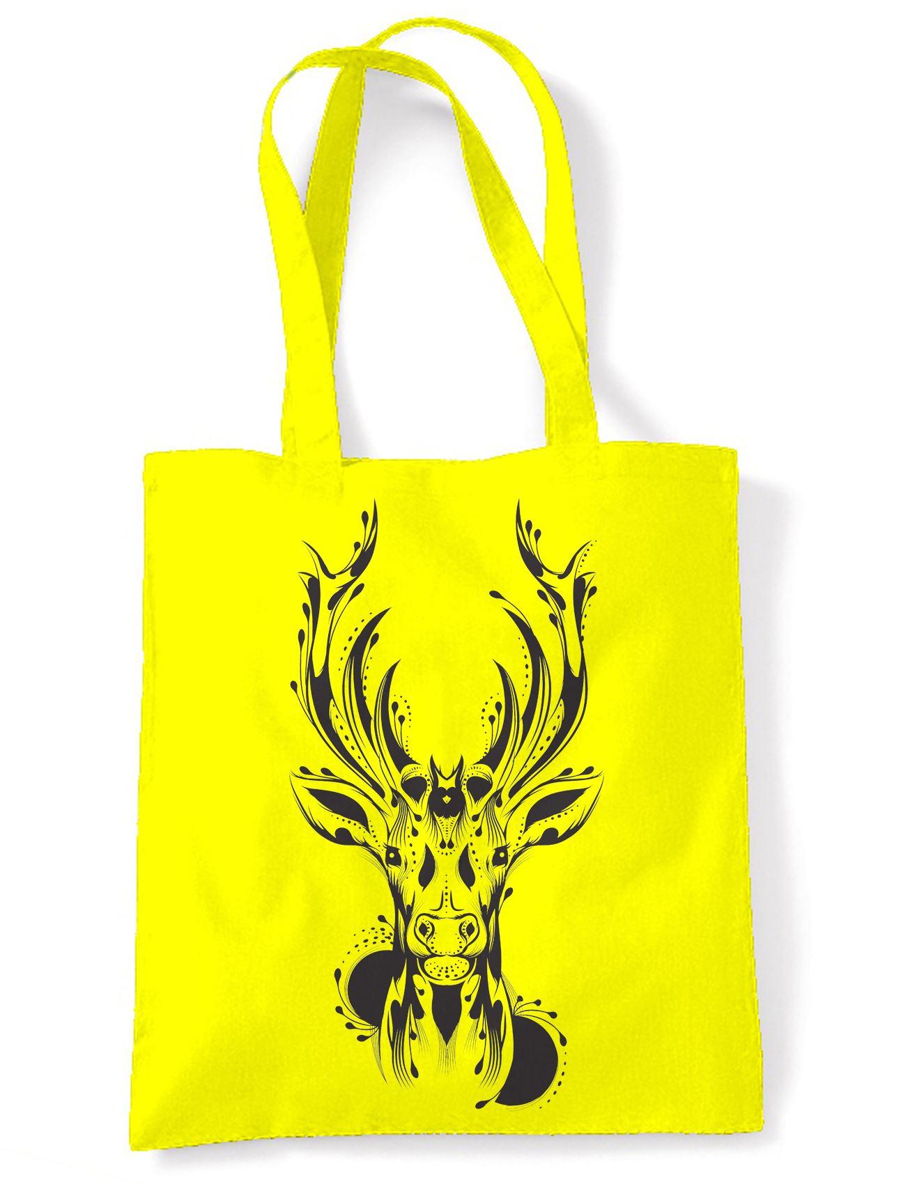 Tribal Stags Head Large Print Tote Shoulder Shopping Bag - Stag Deer ...