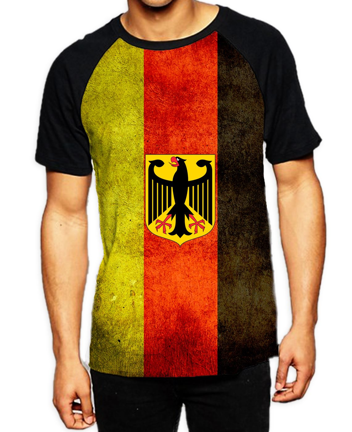 German Flag Women/'s All Over Graphic Contrast Baseball T Shirt