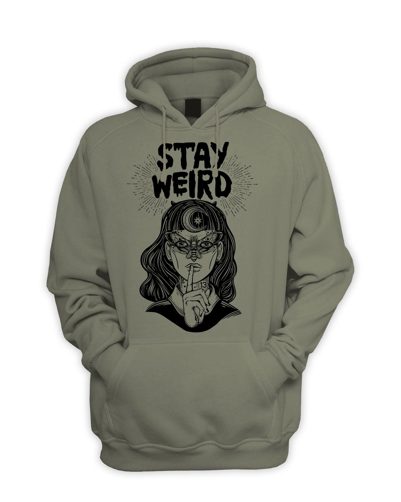 Stay Wierd Witch Girl Hipster Men/'s Pouch Pocket Hoodie Pagan Wicca