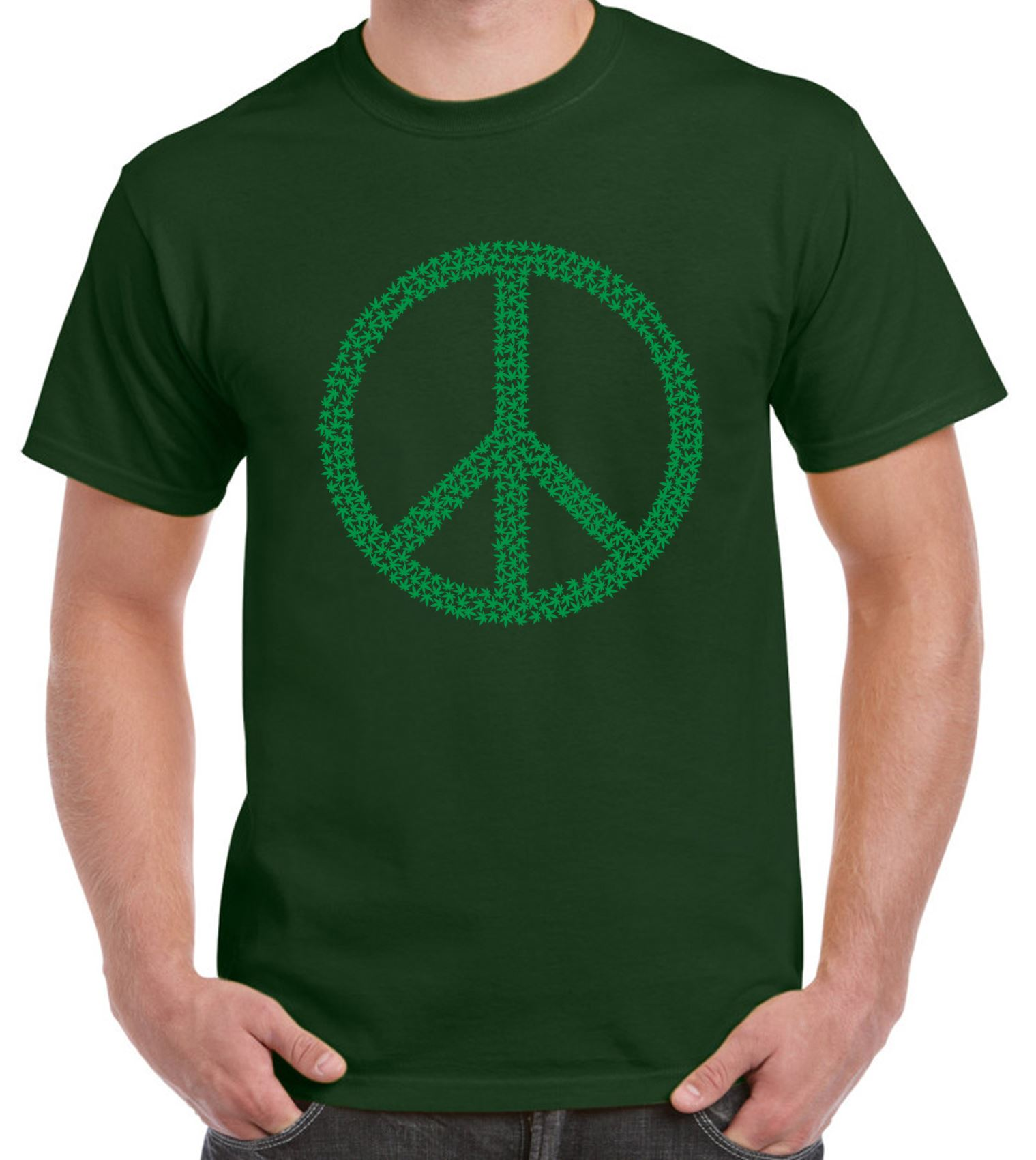 Peace Symbol Marijuana Leaf Mens T Shirt Ebay