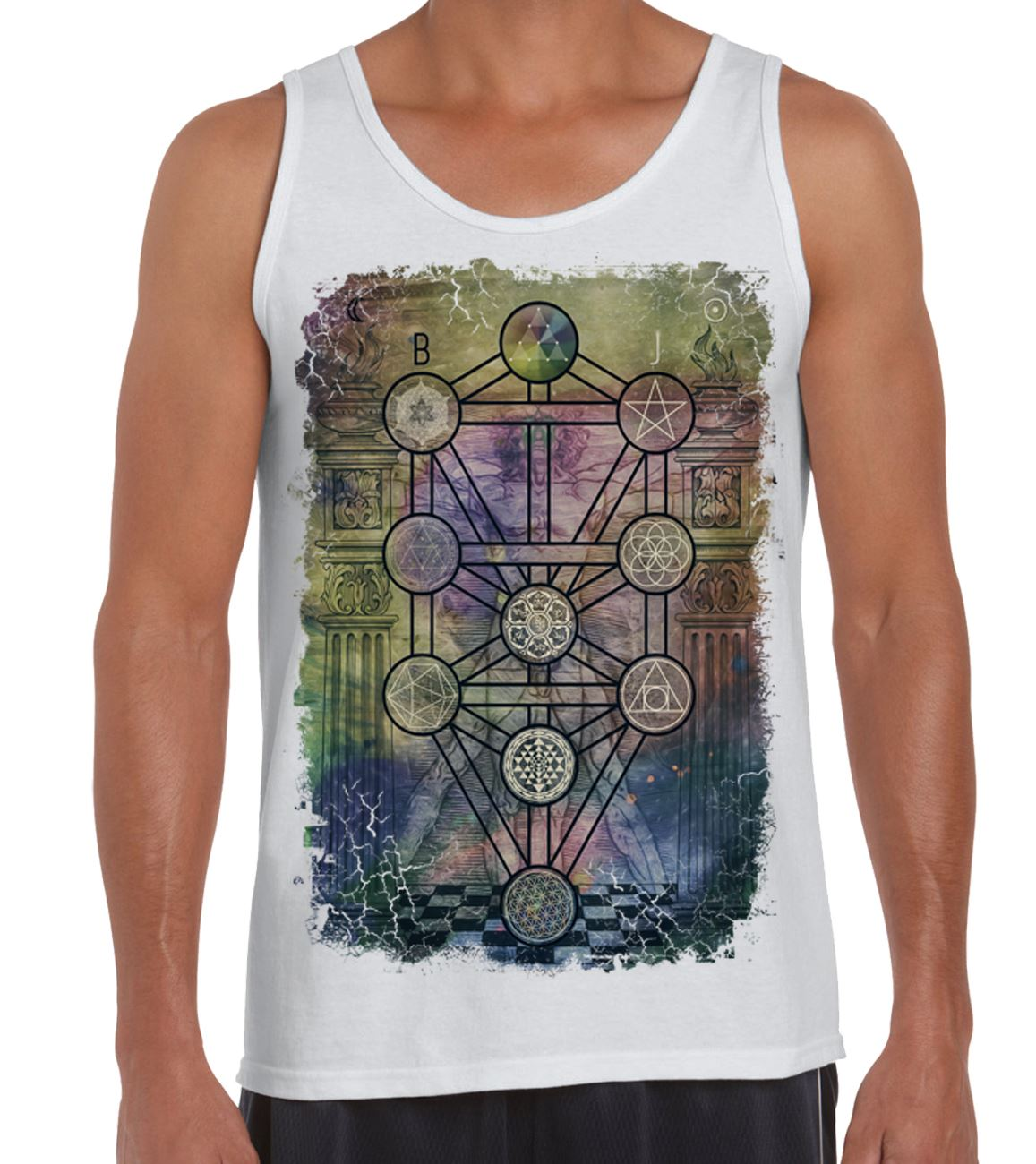 Pagan Wicca Crowley The Magician Tarot Card Large Print Men/'s T-Shirt