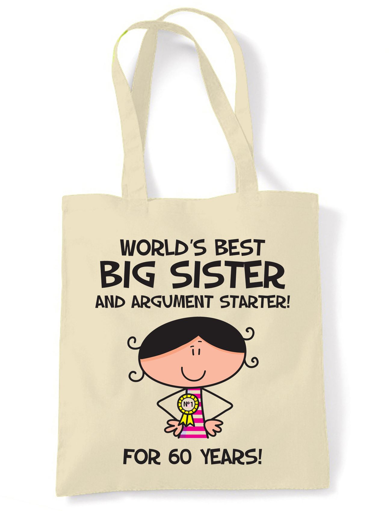 Worlds Best Big Sister 60th Birthday Present Shoulder Tote Bag